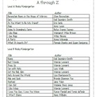 Student Book List(s) for grades 1-8/ Complete with DRA Levels!