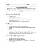 Student Book Talks -- Reference Sheet & Planning Page
