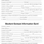 Student Contact Information Card {English & Spanish}