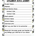 Student Info Sheet-Beginning of the year