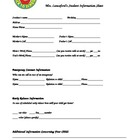 Student Information Sheet Form