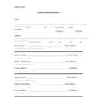 Student Information Sheet (for Chinese classes)