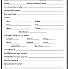 Student Information Sheet/Student Interest Survey/Inventory
