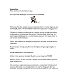 Student Leadership: Writing a Personal Mission Statement