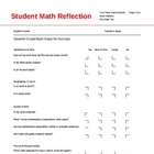 Student Math Reflection Sheet
