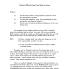 Student Monitoring Card with Instructions