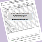 Student Performance Evaluation Recommendation Form for Pro