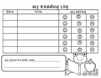 Student Reading Log for Book Bags