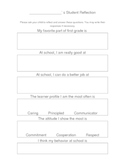 Student Reflection Sheet