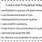 Student Self Assessment for Group Work Rubric