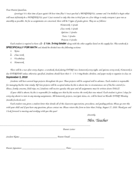 Student and Parent Letters