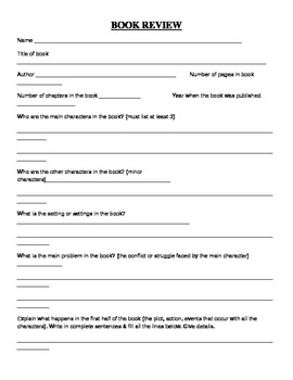 Student book report form