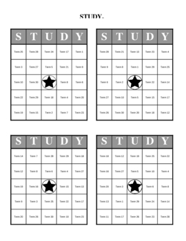 Study Bingo: Print 32 Different Bingo Cards and Master List