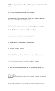 "Study Guide Questions for Shakespeare's ""Twelfth Night"" (11 pgs)"