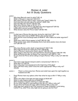 Study Questions for Romeo and Juliet by William Shakespeare