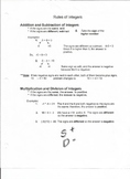 Study Sheets: Rules of Integers, Fractions, Decimals,and Percents