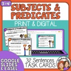 Subject-Predicate Task Cards: 32 Sentence Cards for Comple