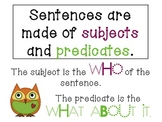 Subject and Predicate Pack including I HAVE, WHO HAS?