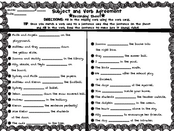 Subject and Verb Agreement Game Recodring Sheet