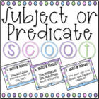 Subject or Predicate SCOOT! (task cards/review game)
