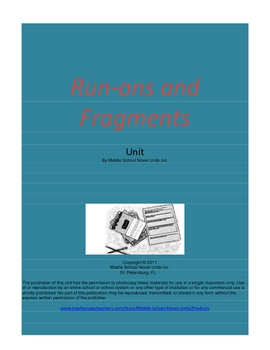 Subjects and Predicates & Run-ons and Fragments Combined Units