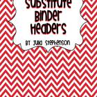 Substitute Binder Headers- Red/Black Chevron