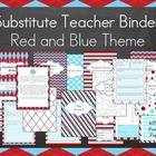 Substitute Binder- Red and Blue Theme