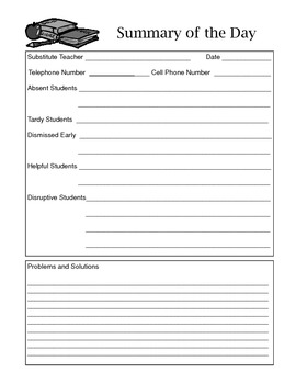 Substitute Forms to be Filled Out by the Sub!