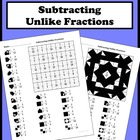 Subtracting Unlike Fractions Color Worksheet