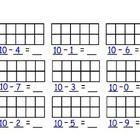 Subtracting from 10 with Ten Frames