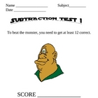Subtraction 1 Monster Math
