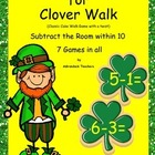 Subtraction within 10 Clovers Carvinal Cake Walk Game & Wr