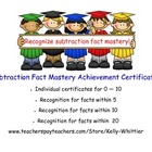 Subtraction Fact Mastery Achievement Recognition Certificates