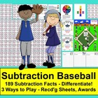 Subtraction Facts Math Center Activities Baseball - 4 Ways