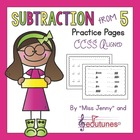 """Subtraction From 5 """"No Frills"""" Practice Pages / Miss Jenny"""