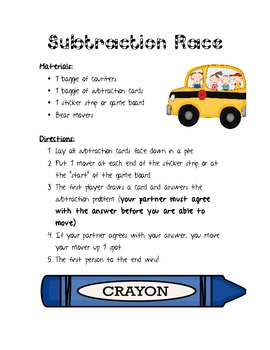 Subtraction Race Game