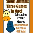 Subtraction Safari Animals Concentration, Go Fish &amp; Old Ma