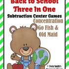 Subtraction Teddy Bear Back to School Concentration, Go Fi
