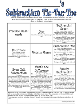 Subtraction Tic-Tac-Toe
