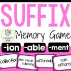 Suffix Memory Match-Up Game with Recording Sheet (able, io