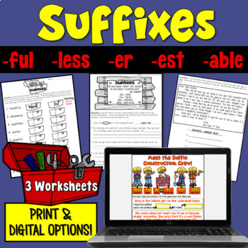 Suffixes Worksheet Packet (-ful, -less, -er, -est, -able,