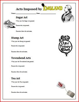 Sugar Act, Stamp Act, Tea Act, Townshend Act, Worksheet Activity