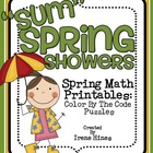 """Sum"" Spring Showers ~ Spring Math Printables Color By The"
