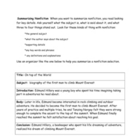 Summariazing Nonfiction Handout and Graphic Organizer