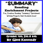 Summarize (Summary) Differentiated Reading Skills Project Menu