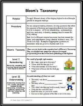Summarizing Reading Selections Using Bloom's Taxonomy