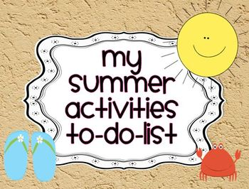 Summer Activities to do list