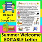 Summer Back To School Welcome Letter For Primary Grades