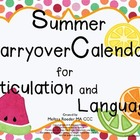 Summer Carryover Calendars for Speech and Language