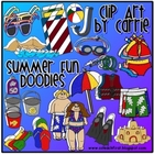 Summer Fun Doodles (BW and full-color PNG images)